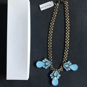 Anna & Ava Light Blue &Gold Statement Necklace NWT